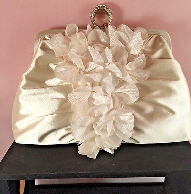 Ivory Satin Design Wedding Evening Clutch Bag Prom Bridal Purse