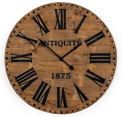 Very Large Wood Face Wall Clock with Black Roman Numerals 110 cm Diameter