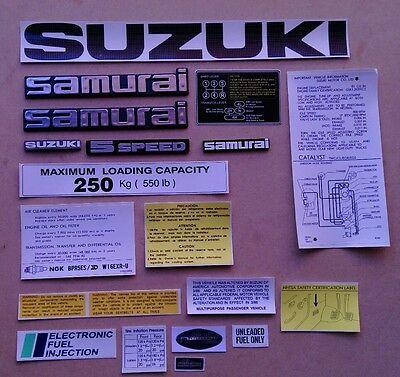 SUZUKI SAMURAI EMBLEMS AND DECALS (Black)