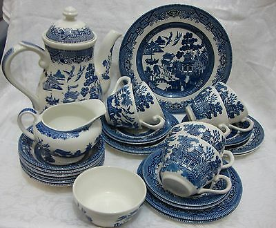 28 Piece Blue & White Willow Tea/Coffee Service - Churchill - VGC
