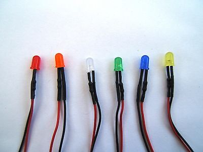 Pre Wired LEDs 5mm Difussed 5V-12V Various Colours/Packs Prewired UK Seller