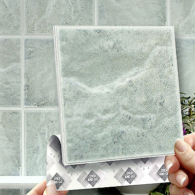 8 Stick & Go 'Portland Stone' Stick On Wall Tiles For Kitchens or Bathrooms