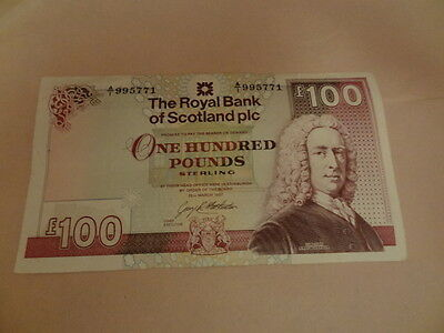 RBS The Royal Bank of Scotland £100 Banknote, 26th March 1997 Circulated