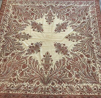 Antique Kashmiri White & Red Woven Wool Jaquard Victorian Paisley Shawl VG 19thc