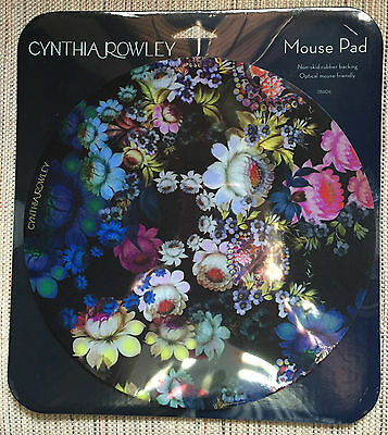 Cynthia Rowley Optical Mouse Pad Floral 8.5 inch diam.  Non-skid Rubber backing