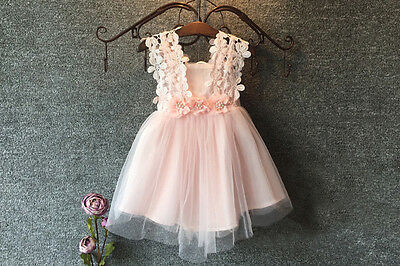 New Baby Girl Party Dress Lace Tulle Flower Girls Wedding Dresses Formal CB1421