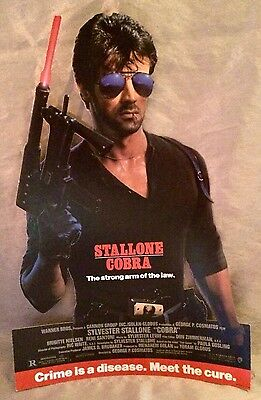 Cobra 1986 Movie Promo 2 Sided Mobile Standee! Sylvester Stallone, Cannon Films!
