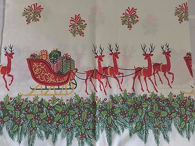 Vintage Pillow Case -  Holiday Sleigh and Reindeer