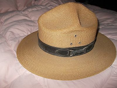 Vintage California State Park Ranger Hat Leather Band WITH BEARS