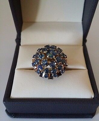 ESTATE VINTAGE 14K YELLOW GOLD BLUE STONE COCKTAIL DINNER RING, Size 8.25