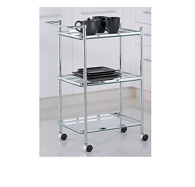Rolling Serving Cart Trolley Table Glass Shelves Wine Chrome Finish Portable New