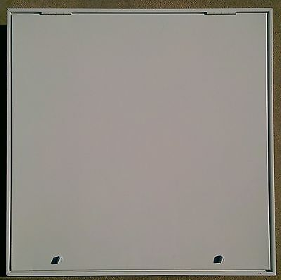 """White, Metal, Access door, two latches, Outside 18X18"""" and inside is 16X16""""."""