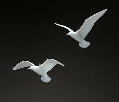 SEAGULL MOBILE Sculpture New direct frm JOHN PERRY 9in Wingspan Statue hvr + gld