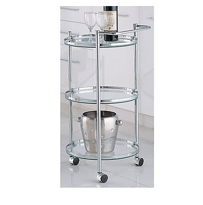 Rolling Serving Cart Round Trolley Table Glass Shelves Wine Chrome Portable Bar