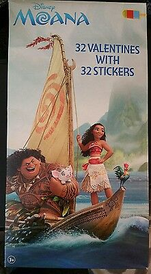 Disney Moana 32 Valentines Cards with 32 Stickers