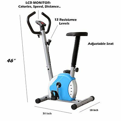 STATIONARY BELT CARDIO EXERCISE BIKE BLUE w/ LCD Display New Sealed