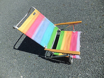 Rio Collection Folding Aluminum Low Beach Lawn Sand Chair Seat Wood Arm Rests