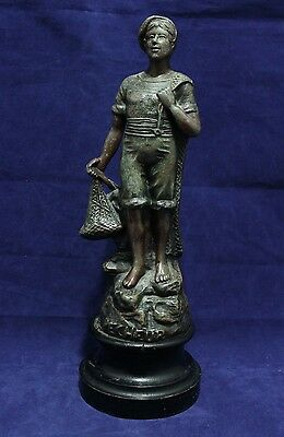 "Antique Bronze Washed Spelter Figurine/Statue - Made in Paris France - ""Pecheur"""