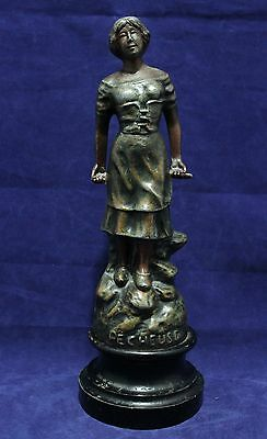 "Antique Bronze Washed Spelter Figurine/Statue - Made in Paris France - ""Pecheuse"