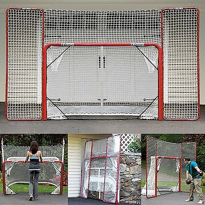 Ezgoal Hockey Folding Pro Goal With Backstop And Targets 2-inch Red/white