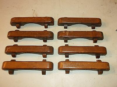 (8) Antique / Vintage Wooden Drawer Pulls / Handles -- Original Screws Included