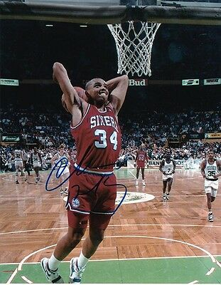 "Charles Barkley ""sixers"" Autographed 8X10 Color  Photo Coa Greg Tucker & Old Pro"