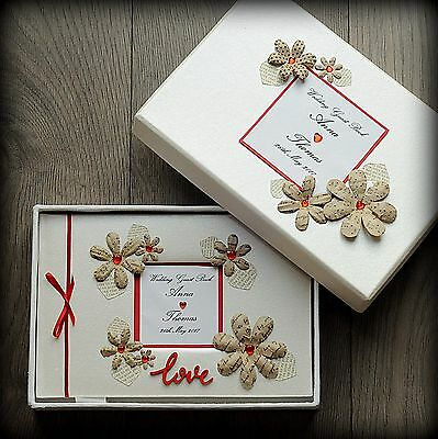 Luxury Personalised Wedding Guest Book/ Hand Made Boxed