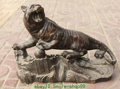 """12""""Chinese Bronze Animal Fengshui Tigre Up Hill Tiger The Great Wall Ball Statue"""