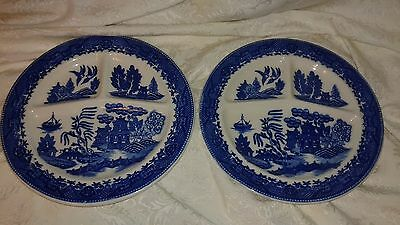 Two Vintage Moriyama Occupied Japan Blue Willow Grill Plates EUC
