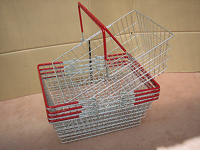 Pack of 5 Wire Shopping Baskets Light Red / Orange Handles