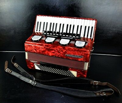 TOP GERMAN PIANO ACCORDION WELTMEISTER STELLA -120 bass,16 reg.+BRAND NEW STRAPS