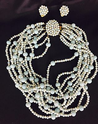 True Vintage 1950's 10 Strand Pearl And Tiffany Blue Glass Necklace And Earrings
