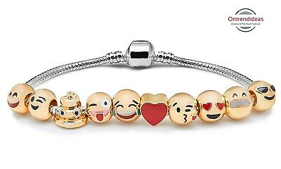Ten Charm Emoji Bracelet | Latest Trend | Funny Charm | Collectible | Great Gift