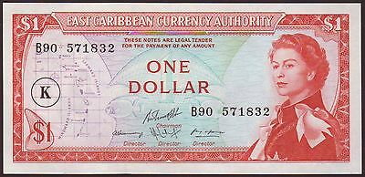 East Caribbean States  St. KITTS   1 Dollar  ND (1965)   UNC