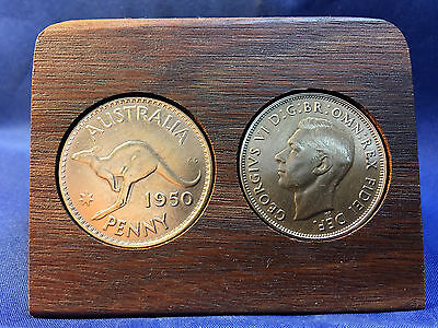 1950 Birthday Gift Present Jarrah Plaque w/ 1950 original penny other years avai