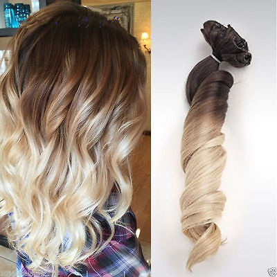 100% European Remy Clip In Human Hair Extensions Wavy Ombre Blonde 7Pcs 100g