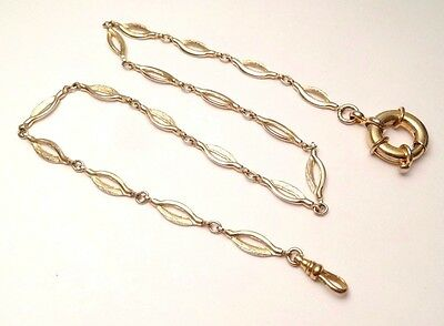 """Vintage Pocket Watch Holder 18 7/8"""" Inches Gold Tone Chain Fob Swivel"""