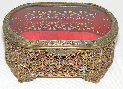 Vintage Gold Filigree Oblong Casket Box Trinket Jewelry Ornate Footed