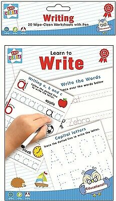 Learn To Write, 20 Wipe-Clean Kids Worksheets With Pen