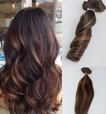 New 6A European Remy Clip In Human Hair Extensions Ombre 7Pcs 100g
