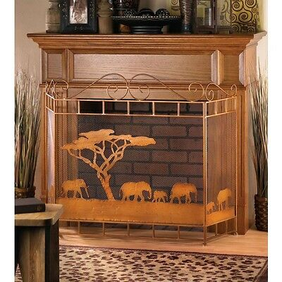 Lucky Elephant Fireplace Country Western Scene Screen Divider Safari Fire Place