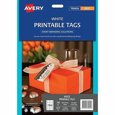 Avery Printable Tags White 100 Pack 89 x 51mm