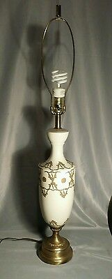 Vintage Hollywood Regency Mid Century Ceramic White and Gold Table Lamp