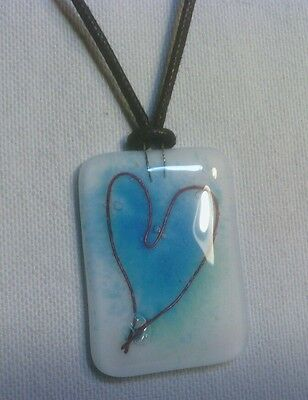 Handcrafted Necklace, Adjustable Black Cord With Glass Pendant, Blue Heart