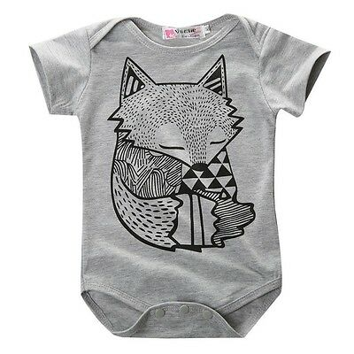 Baby Boy Girls Cartoon Jumpsuit Bodysuit Newborn Romper Outfit Clothes Gray New