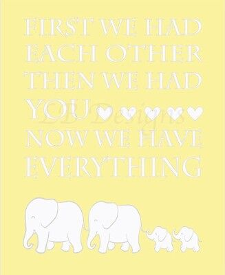 Gray And Yellow Elephant Nursery Print, Twin Nursery Decor 8x10