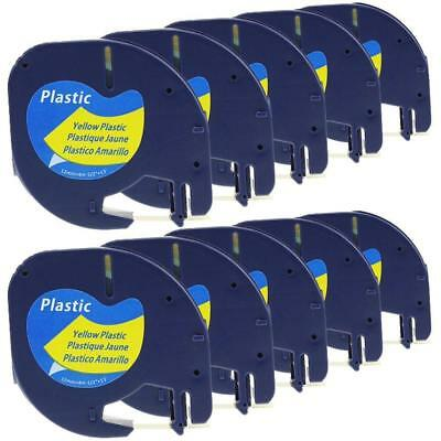 91332 Compatible for DYMO LetraTag Tapes Plastic Label Tape Black on Yellow 10pk