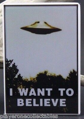"""I Want To Believe"" 2"" X 3"" Fridge Magnet. UFO Area 51 Roswell Alien Conspiracy"