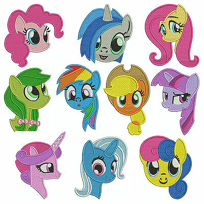 * PONY PORTRAITS * Machine Embroidery Patterns * 10 Designs, 3 sizes