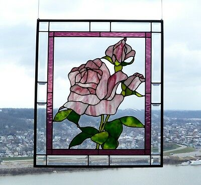 Leaded & Stained Glass Window Panel (Pink Rose & Rose Buds) Must see to believe!